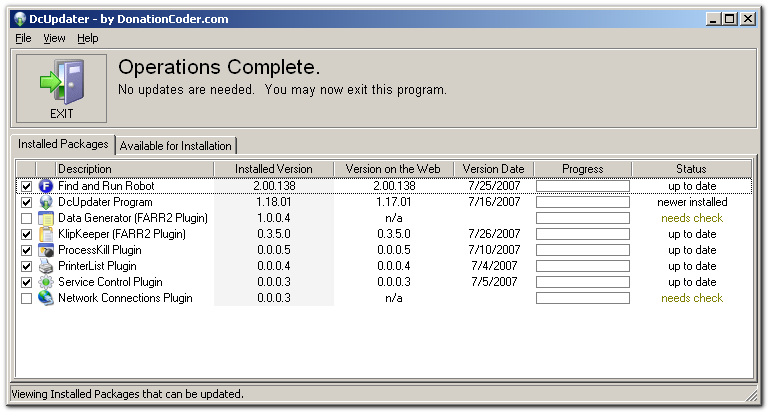 Full DcUpdater screenshot